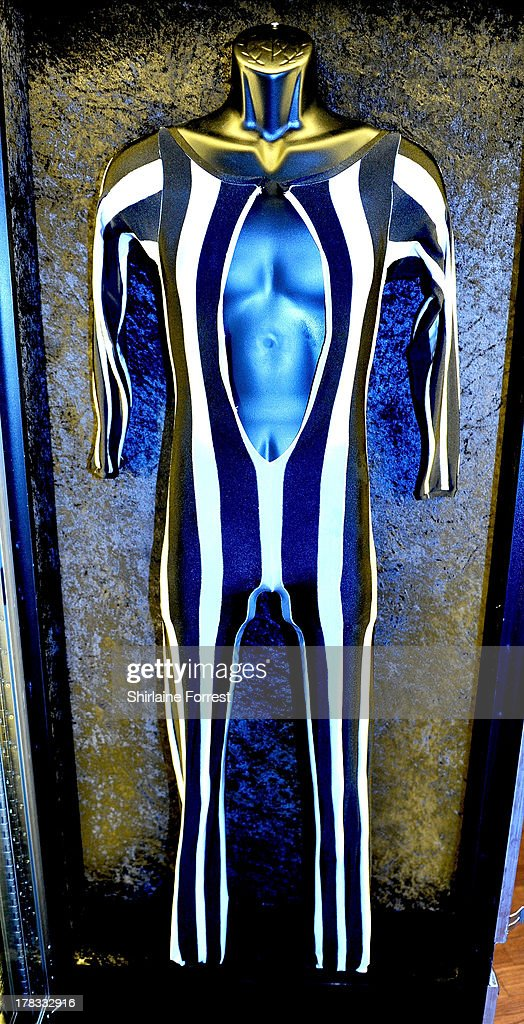 Freddie Mercury of Queen's stage outfit from their 1978 'Jazz' tour is displayed as part of Hard Rock Cafe's Hard Rock Couture exhibition on August 29, 2013 in Manchester, England.