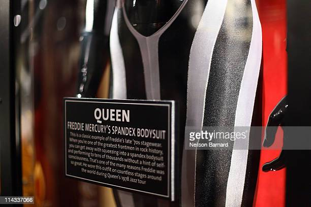 Freddie Mercury of Queen's striped spandex outfit worn onstage by Freddie during Queen's Jazz tour in 1979 is shown on display at Hard Rock Cafe's...