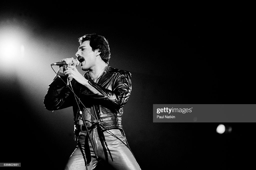 Freddie Mercury of the band Queen performs onstage at the Rosemont Horizon Rosemont Illinois September 19 1980
