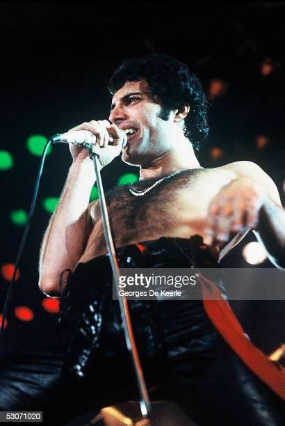 Freddie Mercury of the rock band Queen performs in concert June 1979 in Paris France