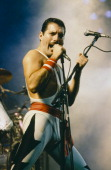 Freddie Mercury performing with Queen at the Rock in Rio festival Brazil January 1985 The festival ran for 10 days and over 1 million people attended