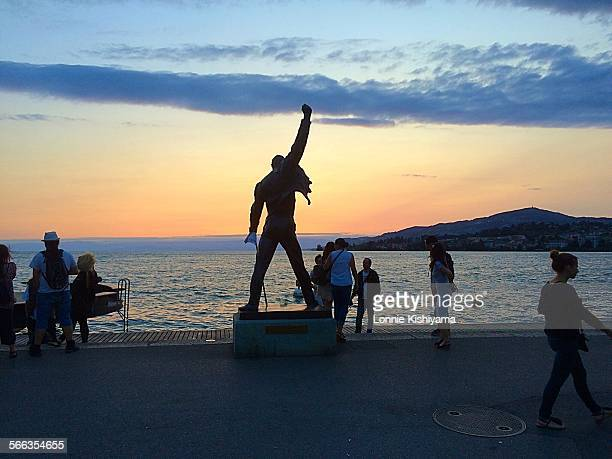 Freddie Mercury statue at the Montreux Jazz Festival on Lake Geneva in Switzerland July 2015
