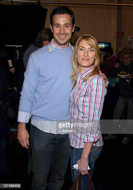 Freddie Prinze Jr and Madchen Amick during Olympus Fashion Week Fall 2006 LaCoste Front Row and Backstage at Bryant Park in New York New York United...