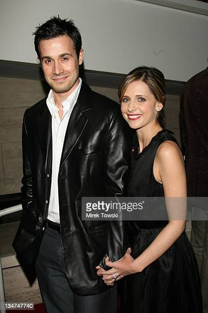 Freddie Prinze Jr and Sarah Michelle Gellar during 'In2TV' AOL and Warner Bros broadband network launch party at The Museum of Television Radio in...
