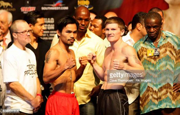 Freddie Roach Manny Pacquiao Bernard Hopkins Ricky Hatton Floyd Mayweather Senior during the weigh in at the MGM Grand Hotel Las Vegas