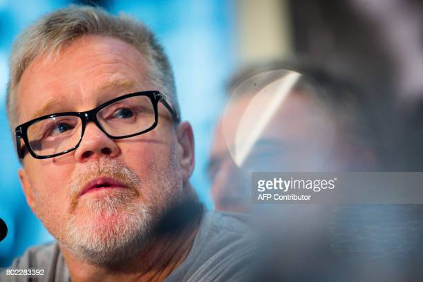 Freddie Roach trainer of Philippine boxer of Manny Pacquiao attends a press conference to promote Pacquiao's upcoming WBO welterweight boxing title...