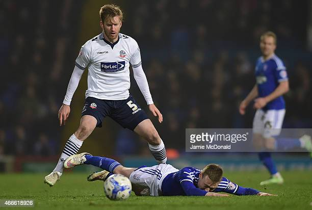 Freddie Sears of Ipswich Town battles with Tim Ream of Bolton Wanderers during the Sky Bet Championship match between Ipswich Town and Bolton...