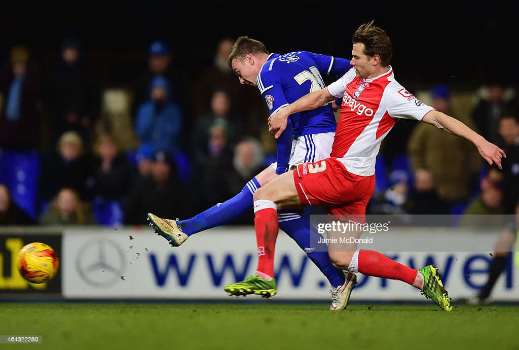 Freddie Sears of Ipswich Town holds off Jonathan Spector of Birmingham City as he scores their third goal during the Sky Bet Championship match...