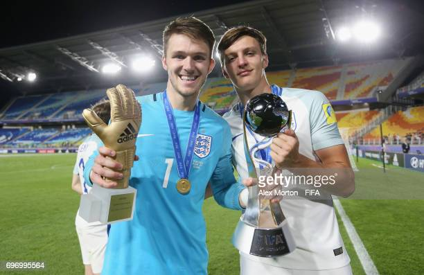 Freddie Woodman and Dael Fry of England celebrate with the trophy after the FIFA U20 World Cup Korea Republic 2017 Final match between Venezuela and...