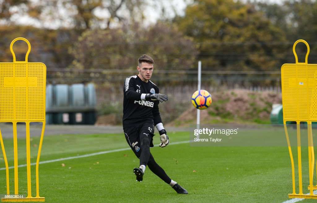 Freddie Woodman passes the ball during the Newcastle United Training Session at The Newcastle United Training Centre on October 26, 2017, in Newcastle, England.