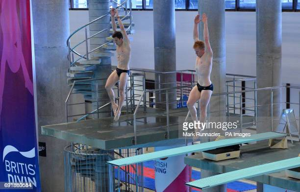 Freddie Woodward and James Heatley competing in the mens 3m Syncro during the British Diving Championships at the Royal Commonwealth Pool Edinburgh