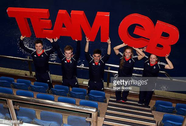 Freddie Woodward Jack Laugher Chris Mears Alicia Blagg and Rebecca Gallantree of Britain pose for a picture during the Announcement of Diving...