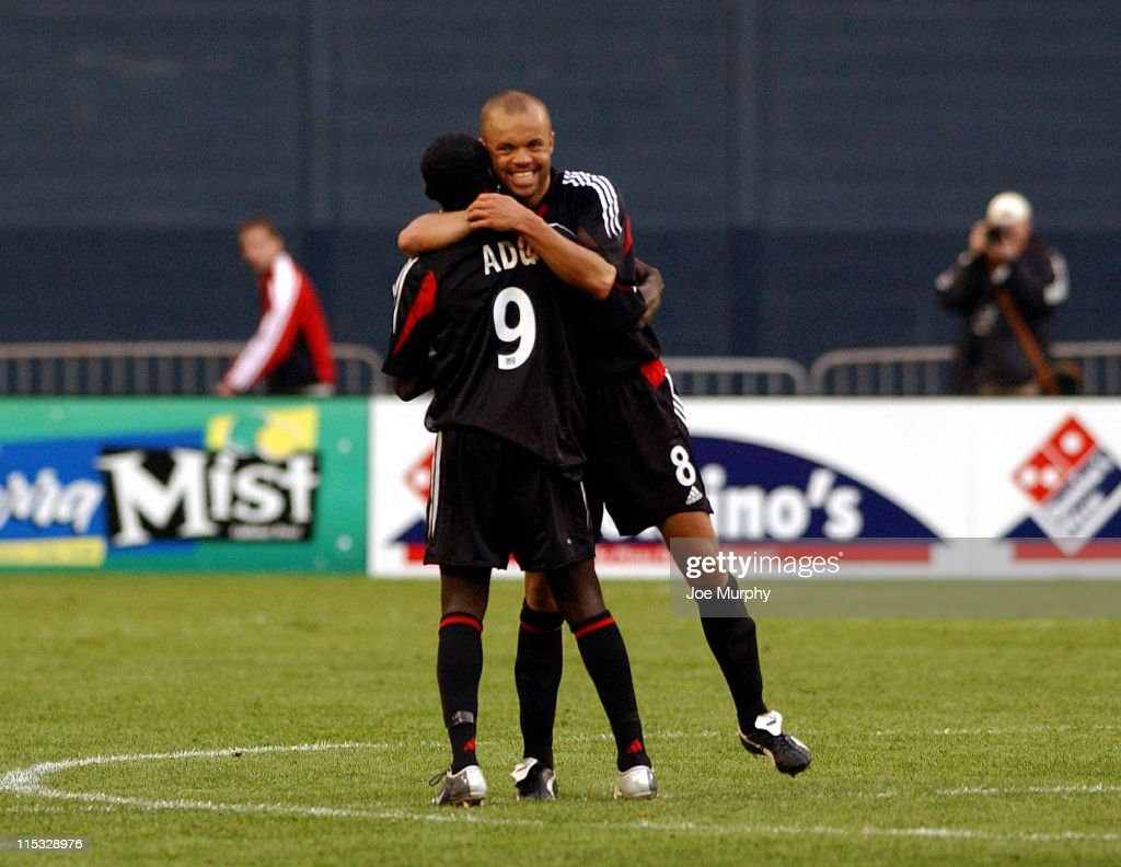 Freddy Adu and Earnie Stewart of DC United celebrate their victory over the San Jose Earthquakes in Washington DC on April 3 2004 DC United defeated...