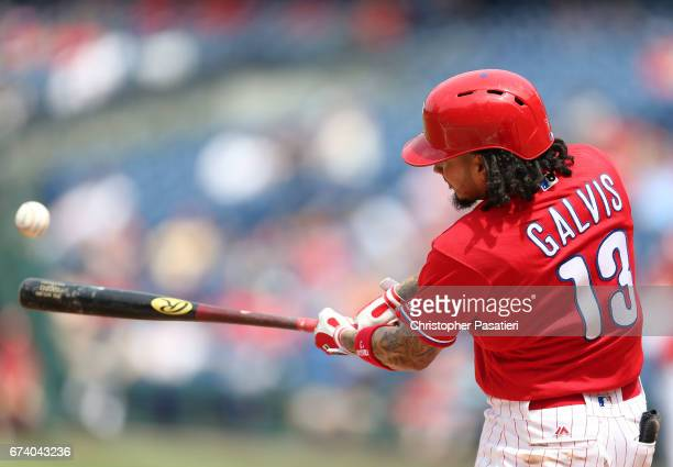 Freddy Galvis of the Philadelphia Phillies connects for a triple in the bottom of the third inning against the Miami Marlins on April 27 2017 at...