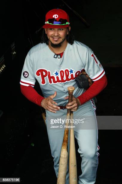 Freddy Galvis of the Philadelphia Phillies enters the dugout before the game against the San Francisco Giants at ATT Park on August 20 2017 in San...