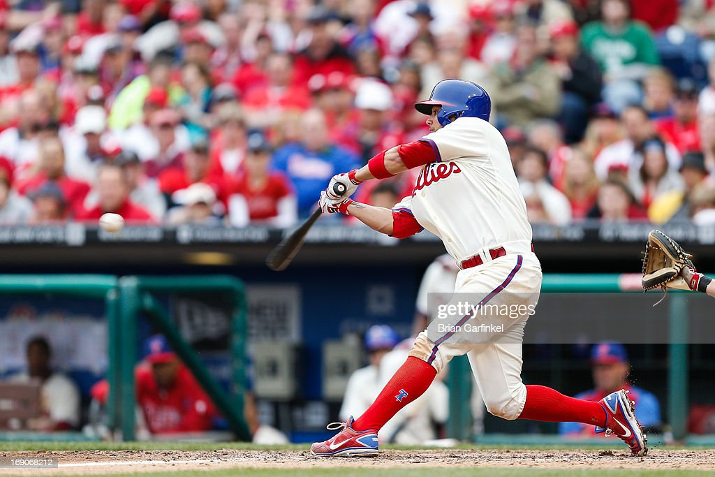 Freddy Galvis #13 of the Philadelphia Phillies hits a home run in the bottom of the ninth inning to win the game against the Cincinnati Reds at Citizens Bank Park on May 19, 2013 in Philadelphia, Pennsylvania. The Phillies won 3-2.