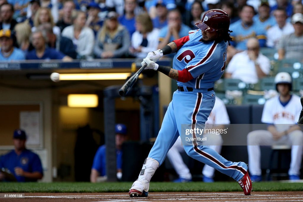 Freddy Galvis #13 of the Philadelphia Phillies hits a single in the first inning against the Milwaukee Brewers at Miller Park on July 14, 2017 in Milwaukee, Wisconsin.