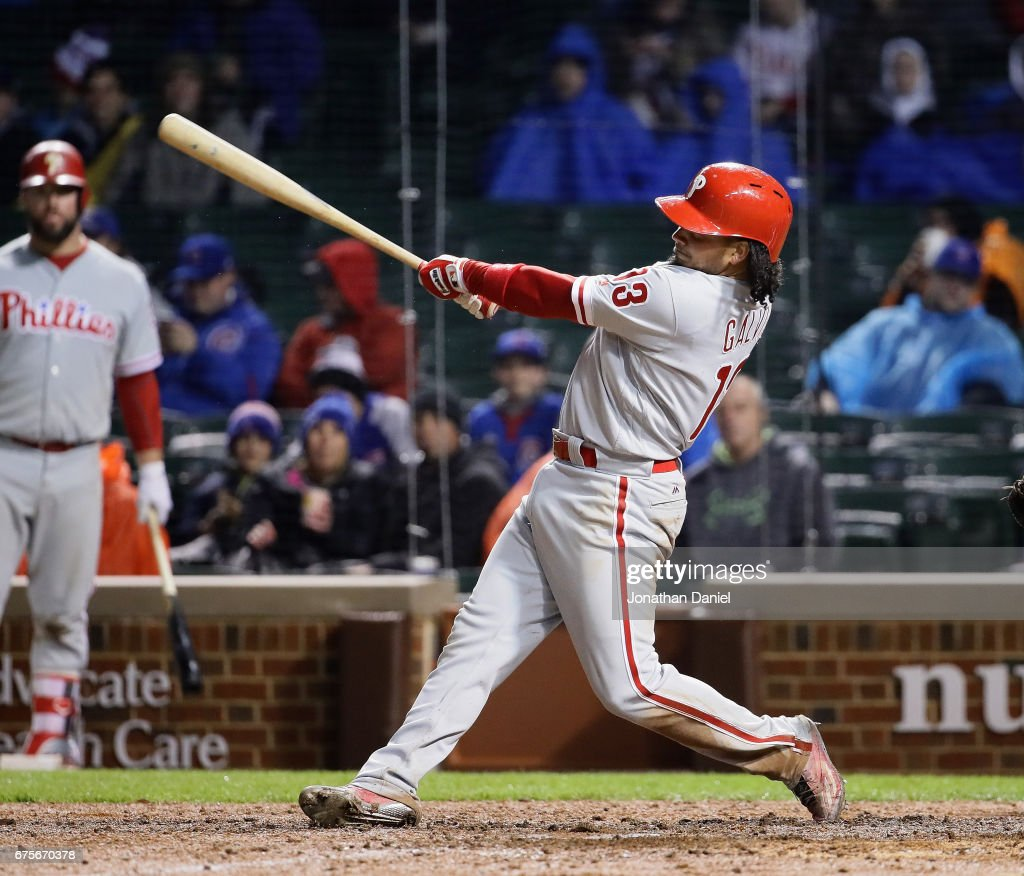 Freddy Galvis #13 of the Philadelphia Phillies hits a two run home run in the 7th inning against the Chicago Cubs at Wrigley Field on May1, 2017 in Chicago, Illinois.