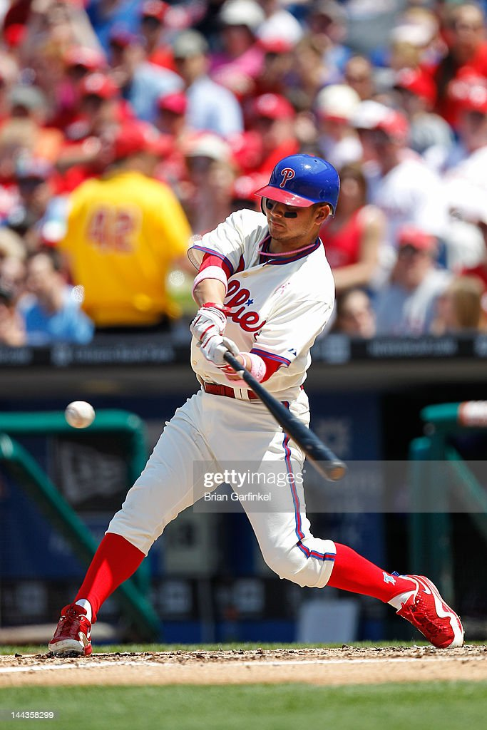 Freddy Galvis #13 of the Philadelphia Phillies hits the ball during the game against the San Diego Padres at Citizens Bank Park on May 13, 2012 in Philadelphia, Pennsylvania. The Phillies won 3-2.