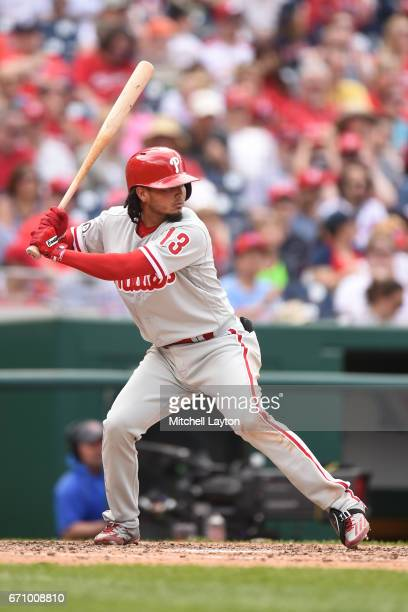 Freddy Galvis of the Philadelphia Phillies prepares for a pitch during the game against the Washington Nationals at Nationals Park on April 16 2017...