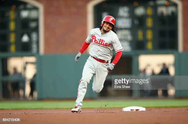 Freddy Galvis of the Philadelphia Phillies runs to third base for a triple in the first inning against the San Francisco Giants at ATT Park on August...