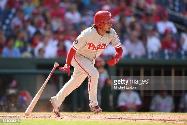 Freddy Galvis of the Philadelphia Phillies takes a swing takes a swing during the game against the Washington Nationals at Nationals Park on April 16...