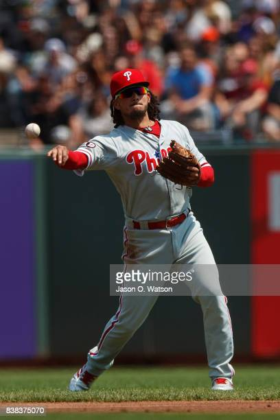 Freddy Galvis of the Philadelphia Phillies throws to first base against the San Francisco Giants during the first inning at ATT Park on August 20...
