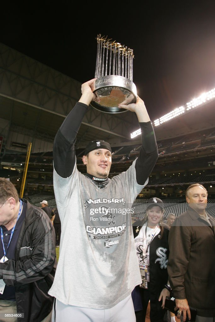 Freddy Garcia celebrates winning Game 4 of the 2005 World Series against the Houston Astros at Minute Maid Park on October 26 2005 in Chicago...