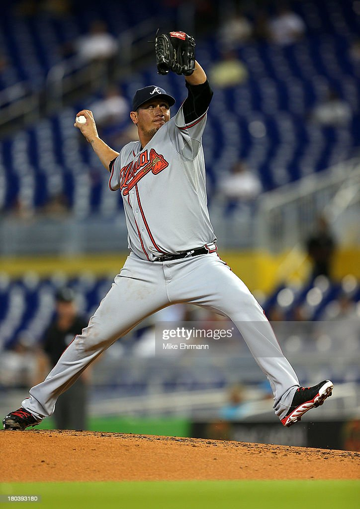 <a gi-track='captionPersonalityLinkClicked' href=/galleries/search?phrase=Freddy+Garcia&family=editorial&specificpeople=203160 ng-click='$event.stopPropagation()'>Freddy Garcia</a> #50 of the Atlanta Braves pitches during a game against the Miami Marlins at Marlins Park on September 12, 2013 in Miami, Florida.