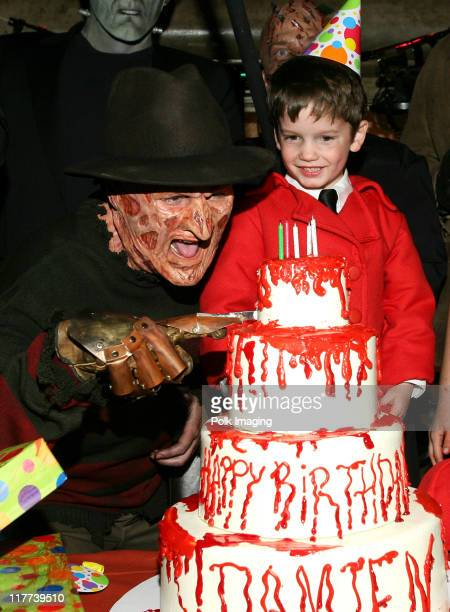'Freddy Krueger' and 'Damien' during 'The Omen' DVD Release Party October 12 2006 in Los Angeles California United States
