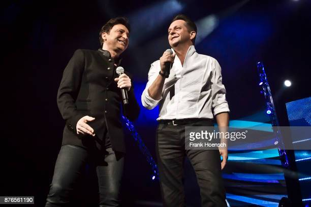 Freddy Maerz and Martin Marcell of the German band Fantasy perform live during the show 'Die Schlagernacht des Jahres' at the MercedesBenz Arena on...