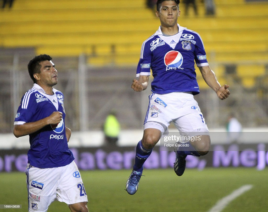Freddy Montero of Millonarios celebrates a goal against Tolima during a match between Millonarios and Tolima as part of the Liga Postobon 2013 at Manuel Murillo Toro Stadium on May 26 , 2013 in Ibague , Colombia.