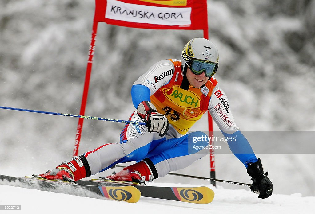 Freddy Rech of France on his way to fifth place during the FIS Alpine Ski World Cup Men's Giant Slalom on February 28, 2004 in Kranjska Gora, Slovenia.