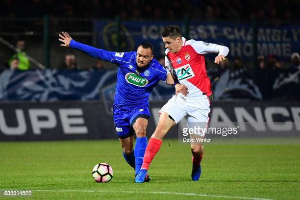 Freddy Rocher of Chambly and Guido Carrillo of Monaco during the French National Cup match between Chambly and AS Monaco Round of 32 on February 1...
