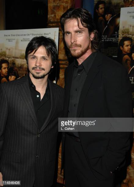 Freddy Rodriguez and Christian Bale during 'Harsh Times' Los Angeles Premiere Red Carpet at Crest Theater in Westwood CA United States
