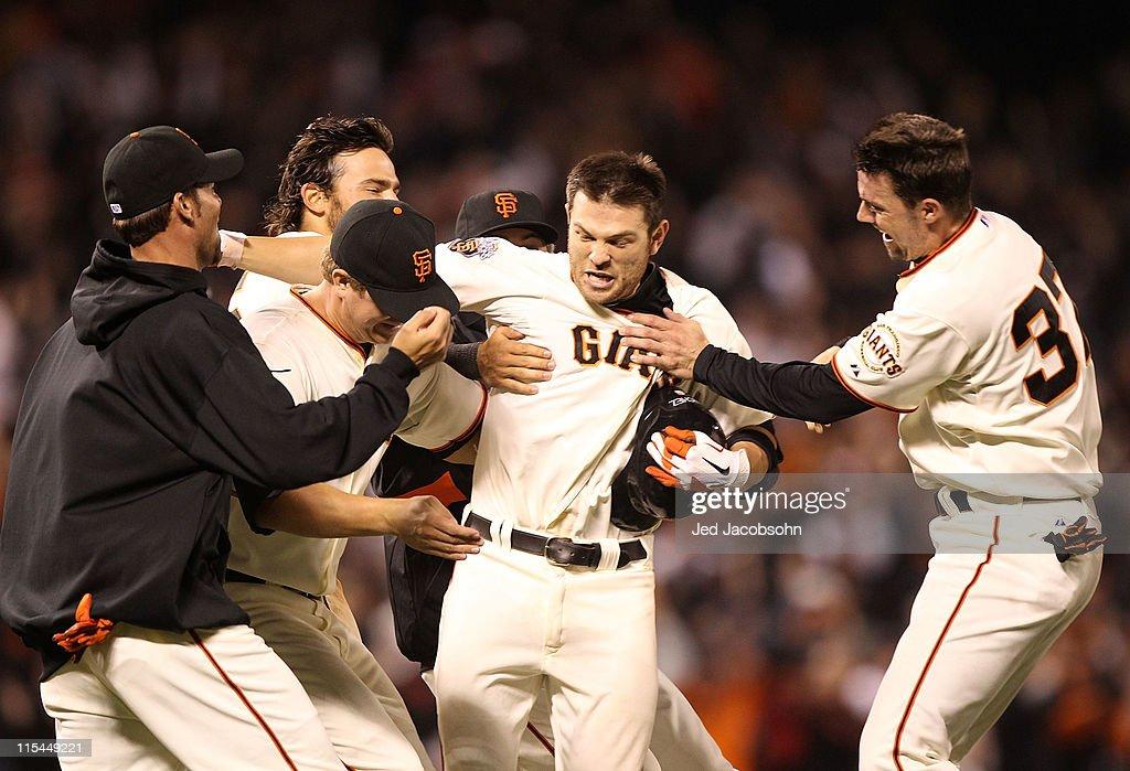 <a gi-track='captionPersonalityLinkClicked' href=/galleries/search?phrase=Freddy+Sanchez&family=editorial&specificpeople=220611 ng-click='$event.stopPropagation()'>Freddy Sanchez</a> #21 of the San Francisco Giants celebrates after the game winning hit in the 13th inning against the Washington Nationals during an MLB game at AT&T Park on June 6, 2011 in San Francisco, California.