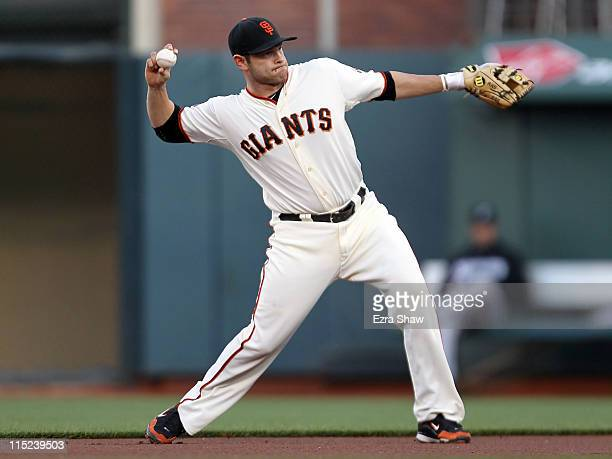 Freddy Sanchez of the San Francisco Giants in action against the Florida Marlins at ATT Park on May 24 2011 in San Francisco California