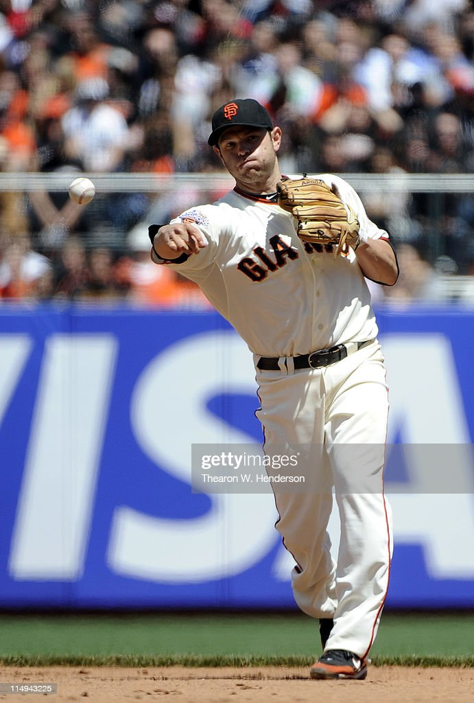 <a gi-track='captionPersonalityLinkClicked' href=/galleries/search?phrase=Freddy+Sanchez&family=editorial&specificpeople=220611 ng-click='$event.stopPropagation()'>Freddy Sanchez</a> #21 of the San Francisco Giants makes the throw to first base against the Florida Marlins during a MLB baseball game at AT&T Park May 26, 2011 in San Francisco, California. The Marlins won the game 1-0.
