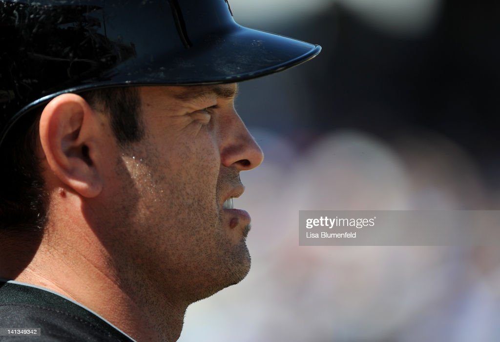 <a gi-track='captionPersonalityLinkClicked' href=/galleries/search?phrase=Freddy+Sanchez&family=editorial&specificpeople=220611 ng-click='$event.stopPropagation()'>Freddy Sanchez</a> #21 of the San Francisco Giants prepares to bat during the preseason game against the Kansas City Royals on March 12, 2012 in Surprise, Arizona.