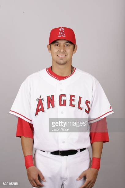 Freddy Sandoval of the Los Angeles Angels of Anaheim poses for a portrait during photo day at Tempe Diablo Stadium on February 22 2008 in Tempe...