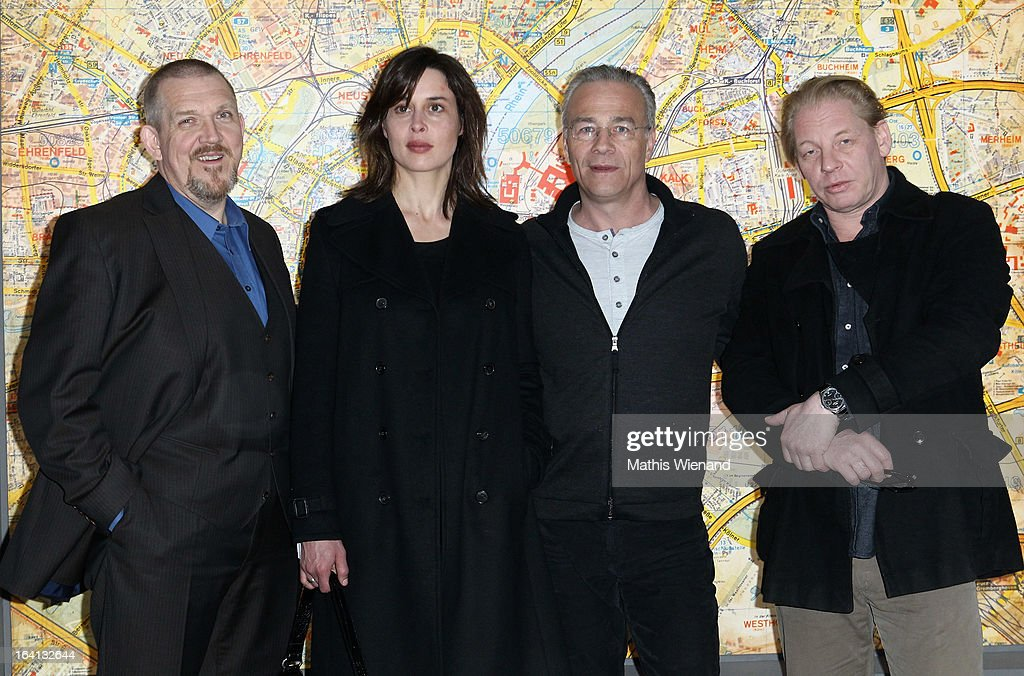 Freddy Schenk, Susanne Wolff, Max Ballauf and <a gi-track='captionPersonalityLinkClicked' href=/galleries/search?phrase=Ben+Becker&family=editorial&specificpeople=622206 ng-click='$event.stopPropagation()'>Ben Becker</a> attend the photocall at the set of the WDR Tatort 'Der Fall Reinhardt - Drei tote Kinder bei Brandanschlag' on March 20, 2013 in Cologne, Germany.