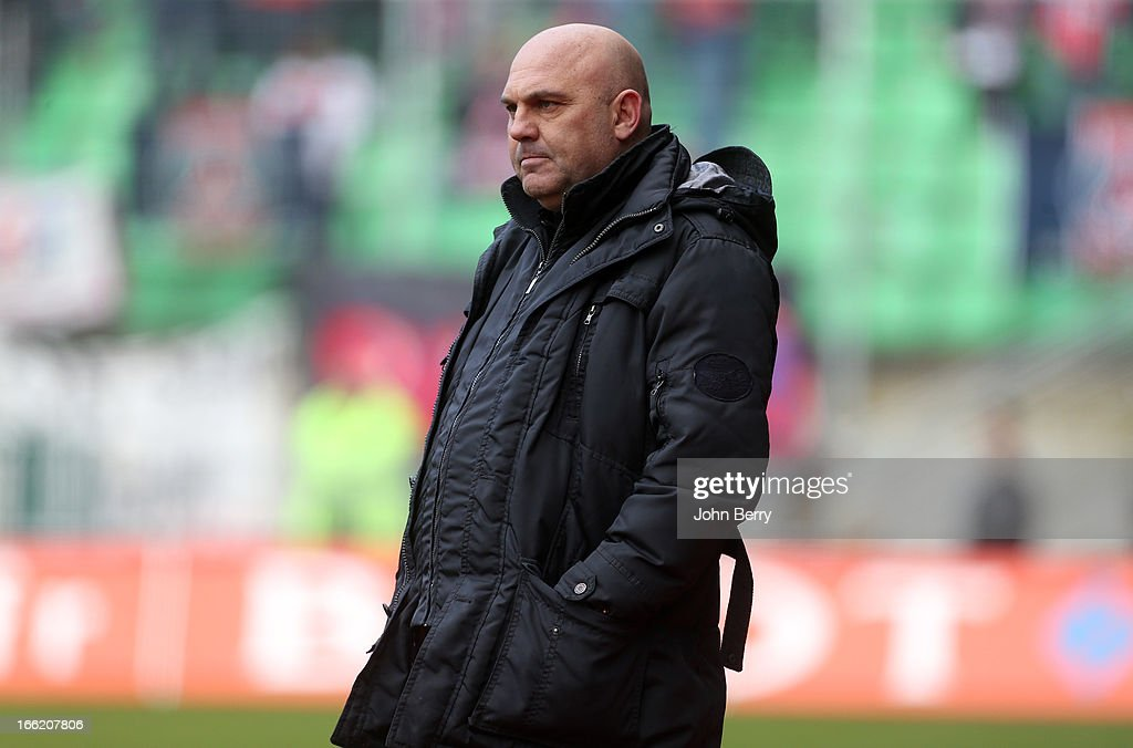 Frederic Antonetti, coach of Rennes looks on during the Ligue 1 match between Stade Rennais and Paris Saint-Germain FC at the Stade de la Route de Lorient on April 6, 2013 in Rennes, France.