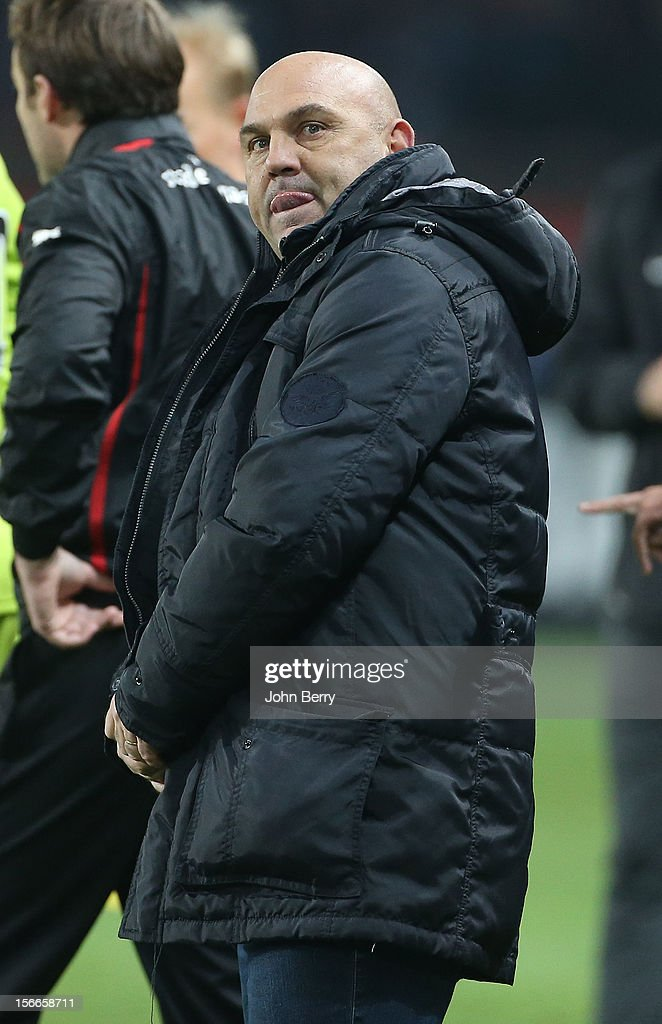 Frederic Antonetti, coach of Rennes reacts during the french Ligue 1 match between Paris Saint Germain FC and Stade Rennais FC at the Parc des Princes stadium on November 17, 2012 in Paris, France.