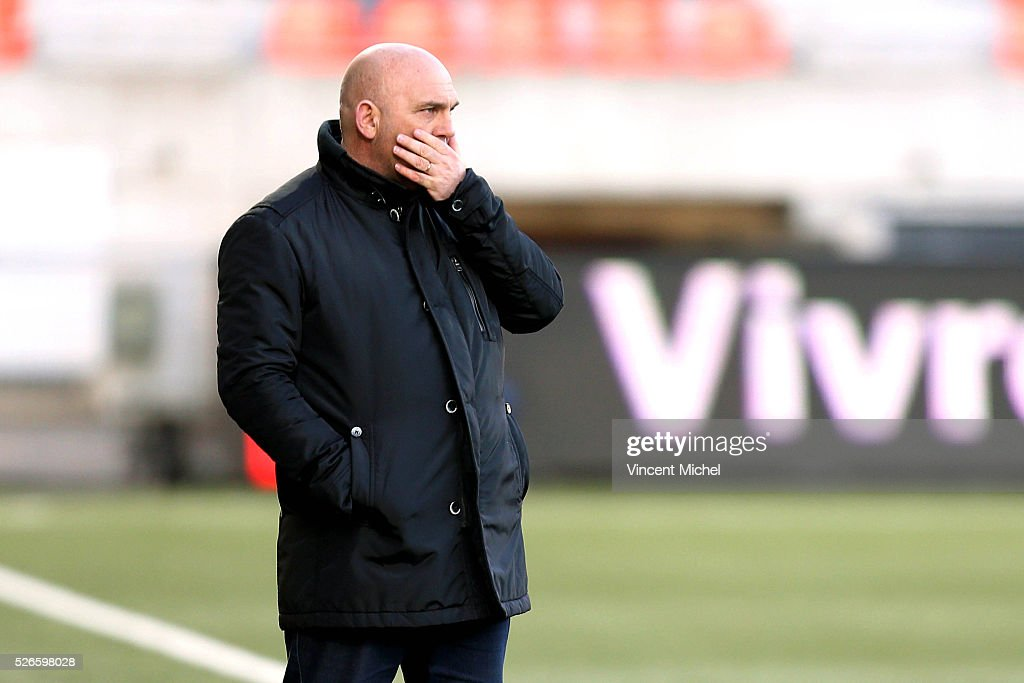 Frederic Antonetti headcoach of Lille during the French Ligue 1 match between Fc Lorient and Lille OSC at Stade du Moustoir on April 30, 2016 in Lorient, France.
