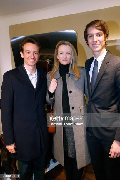 Frederic Arnault Delphine Arnault and CEO of Rimowa Alexandre Arnault attend the Opening of the Boutique Rimowa 73 Rue du Faubourg Saint Honore in...