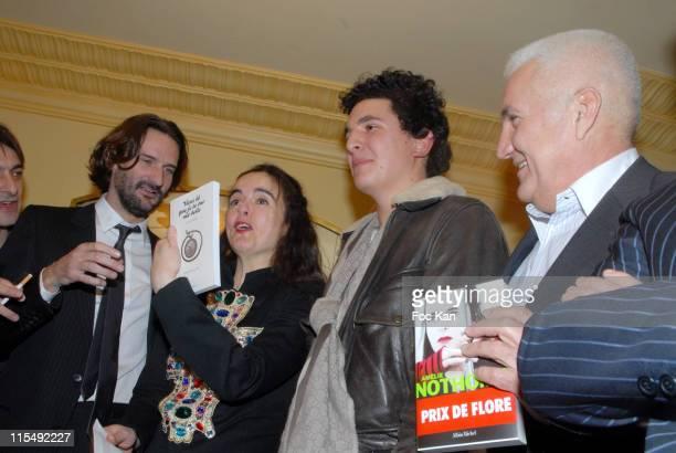 Frederic Beigbeder Amelie Nothomb Boris Bergmann and Miroslav Siljegovic attend the Cafe de Flore Awards 2007 Ceremony Party on November 7 2007 in...
