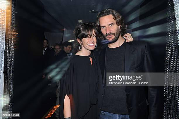 Frederic Beigbeder and Albane Cleret attend a party at Jimmy'z during the 61st Cannes Film Festival