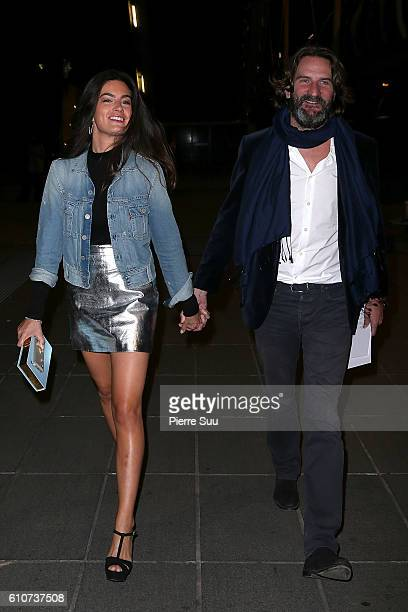 Frederic Beigbeder and his wife Lara Micheli arrive at the Etam show as part of the Paris Fashion Week Womenswear Spring/Summer 2017 on September 27...