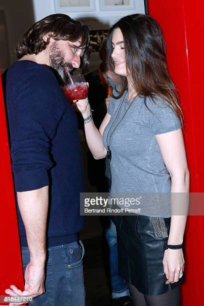 Frederic Beigbeder and his wife Lara Micheli attend the 'Guy Bourdin Portraits' Exhibition Opening and Cocktail at Studio des Acacias on March 31...