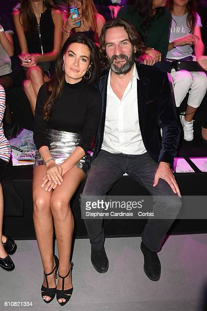 Frederic Beigbeder and his wife Lara Micheli attends the Etam show as part of the Paris Fashion Week Womenswear Spring/Summer 2017 on September 27...